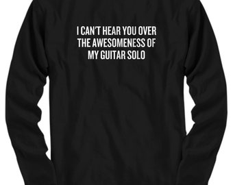 Funny Guitarist Shirt - Guitar Player Gift - Awesomeness Of My Guitar Solo - Long Sleeve Tee