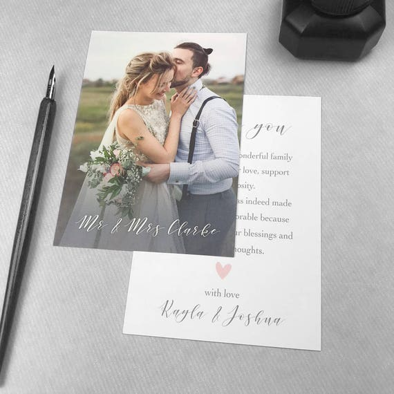 Wedding thank you from Mr & Mrs, Personalized thank you cards wedding, Wedding thank you notes with photo, Thank you from bride and groom