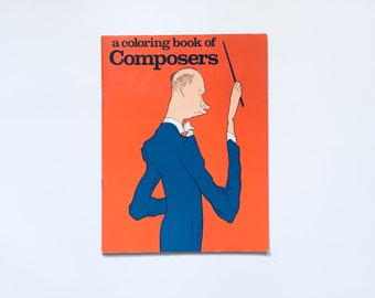 A COLORING BOOK of COMPOSER / Beautiful Vintage Children's Coloring Book / Unusual, Music, Chopin, Schumann, Stravinsky, Dvorak, Ravel, Bach
