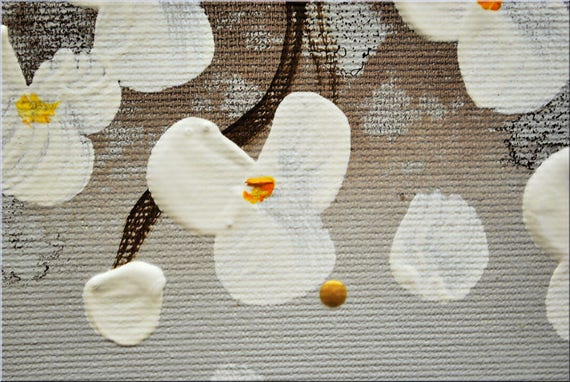 Acrylic art painting abstract white cherry blossoms