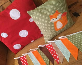 Nursery Set Woodland theme Cushions and Bunting fox toadstool red brown green baby boy girl cotton fabric children bedroom kid tree