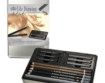 Life Drawing Art Set; Sketching Pencils, Pastels Small Tin Gift Set; Royal & Langnickel