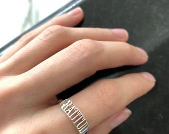 Sterling Silver GRATITUDE ring