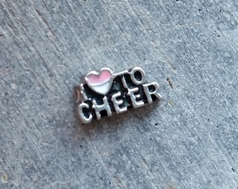 Floating Charm For Glass Memory Lockets- I Love to Cheer
