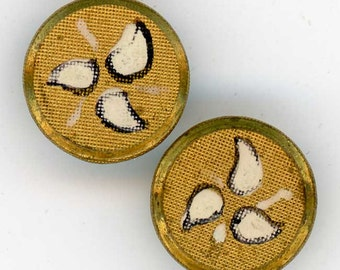 2 Vintage Diminutive Brass Buttons ~ 3/8 inch 9mm ~ Stylized Pinwheel Triad Design of Handpainted Leaves ~ Dimi Sewing Buttons
