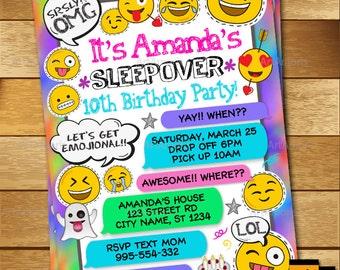 Sleepover Invitation, Emoji Invitation, Slumber Party Invitation, Pajamas Party, Girl's Sleepover Invitation, Emoji Printables R-174