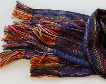 Handwoven scarf, wool scarf, merino scarf, christmas gift, womens scarf, handwoven wrap, stripped scarf, blue scarf, winter scarf