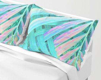 Green Pillow Sham Set, Palm Leaves, Tropical Decor, Standard Sham, King Sham, Pillow Case, Palm Leaf Bedding, Beach Decor, Tropical Bedding