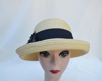 Summer Tan Straw Hat With Flower Trim / Vintage Inspired Hat / Short Cattle Brim Hat / Straw Hat With Black Trim