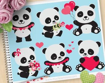 Valentine Pandas Clipart, Valentine's Day Clip Art, Animals, Panda Bear, Valentine Bears Commercial Use, Vector clip art, SVG Cut Files