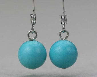 Turquoise stone simple drop earrings Bridesmaid gifts Free US Shipping handmade Anni designs