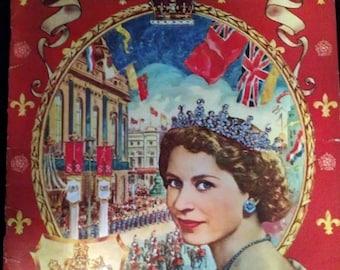 Vintage 1953 Coronation Queen Elizabeth II Coloring Book Unused Original Prince Philip
