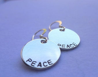 Sterling silver handstamped engraved gift peace earrings