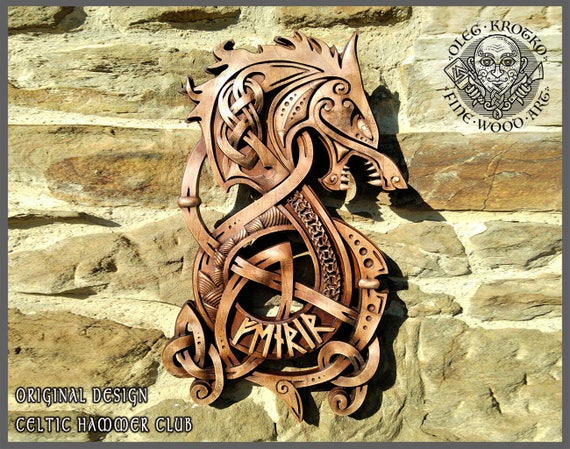 fenrir wolf odin vikings decor norse art thor ethnic wood
