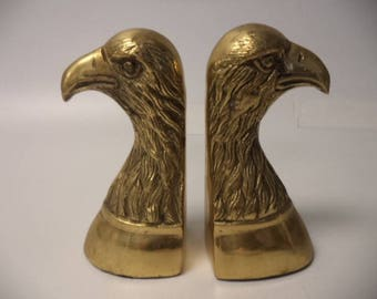 Pair of Mallard Eagle Heads Solid Brass Bookends