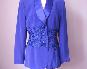 Beaded Blazer / Vtg 80s 90s / Oleg Cassini Royal Blue - PURPLE *not turquoise* Evening Jacket / Purple Beaded Blazer / Size 8