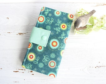 Womens wallet in Aqua orange swirly flowers, Bifold womans wallet, credit card wallet, handmade wallet, checkbook wallet, slim travel wallet