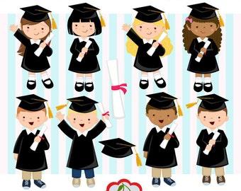 Graduation_Boys and Girls digital clipart set(Black) -Preschool, High School, College, Graduation-Personal and Commercial Use-