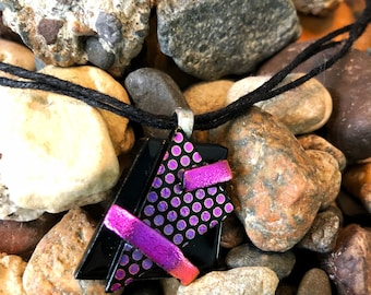 Pink polka dotted dichroic glass pendant