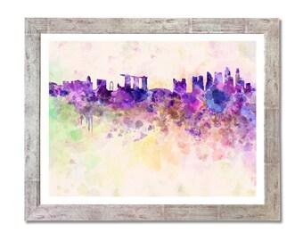 Singapore skyline in watercolor background- SKU 0102