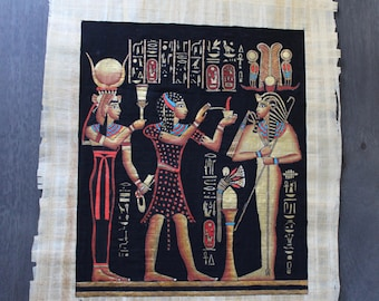 Egyptian Papyrus Ancient Replica (Osiris, Isis, and High Priest)