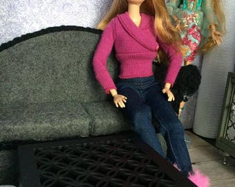 Upcycled Doll Furniture  - Black Coffee Table with Storage - Barbie Size