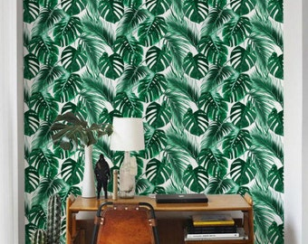 Stunning Palm leaf Wallpaper / Removable / Self adhesive Wallpaper / Monstera Leaf Pattern Wall Covering / Tropical wallpaper - 134