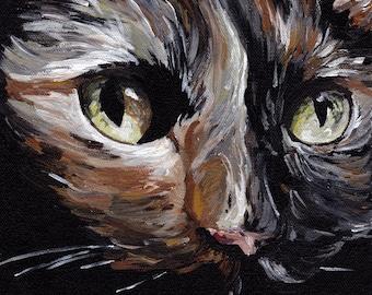 Calico Cat Art Print, Tortoiseshell cat art canvas or paper, cat art print, cute cat art, close up cat art, realistic cat art