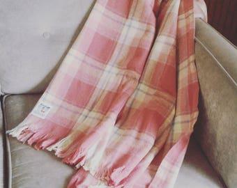 Faribo Pink Plaid Wool Blanket/ Faribault Pure Wool Blanket/ Pure Wool Plaid Blanket/ Vintage Wool Blanket