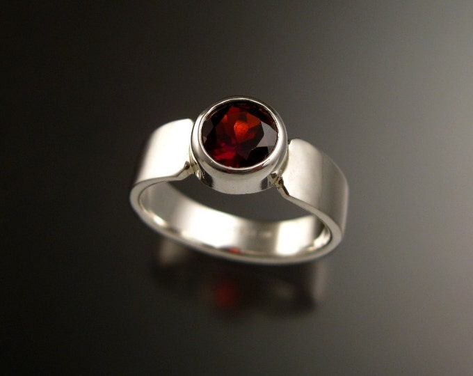Garnet red 6.5mm round Sterling Silver Bezel set stone ring with cold forged tapered band made to order in your size