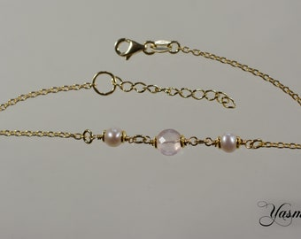 Rose Quartz and Pearl gilded Sterling