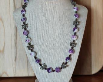 Purple Flowers & Butterflies Necklace