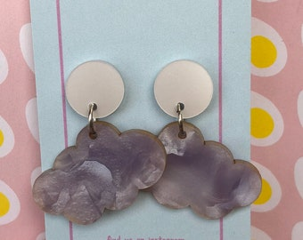 The 'Helen' Cream and Lilac Mineral Cloud Dangles