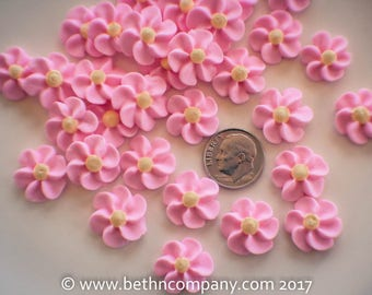 Royal Icing Flowers Pink, Blue, Lavender - Small Drop Flowers - Cake Toppers - Edible Cake Decorations