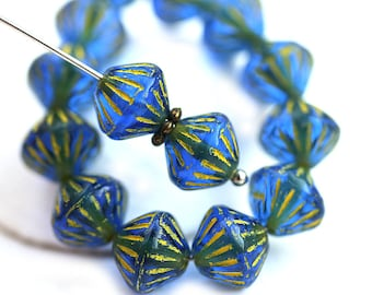 9mm Dark Blue Bicone beads, Yellow Stripes, czech glass beads - 15Pc - 2897