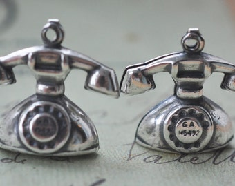 Two  brass rotary telephone charms, Sterling Silver Ox Finish, Vintage Telephones, Brass Stampings
