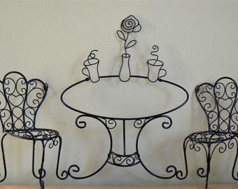 Superb Wire Cafe Wall Decor, Large Metal Cafe Wall Art, Vintage Kitchen, Cafe  Decoration