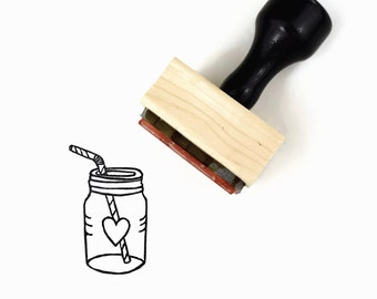 Rubber Stamp Mason Jar Sweet Tea   Apple Festival Heart   Wood Mounted Stamp by Creatiate