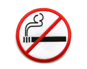 No Smoking Sign Embroidered Applique Iron on Patch 7.3 cm. x 7.3 cm.
