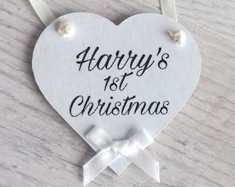 Personalised Christmas ornament, 1st Christmas decoration, babys first Christmas, Christmas tree hanging heart, hanging heart gift, keepsake