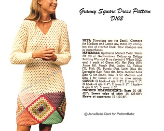 70s Granny Square Dress Crochet Pattern Vintage Tunic D102