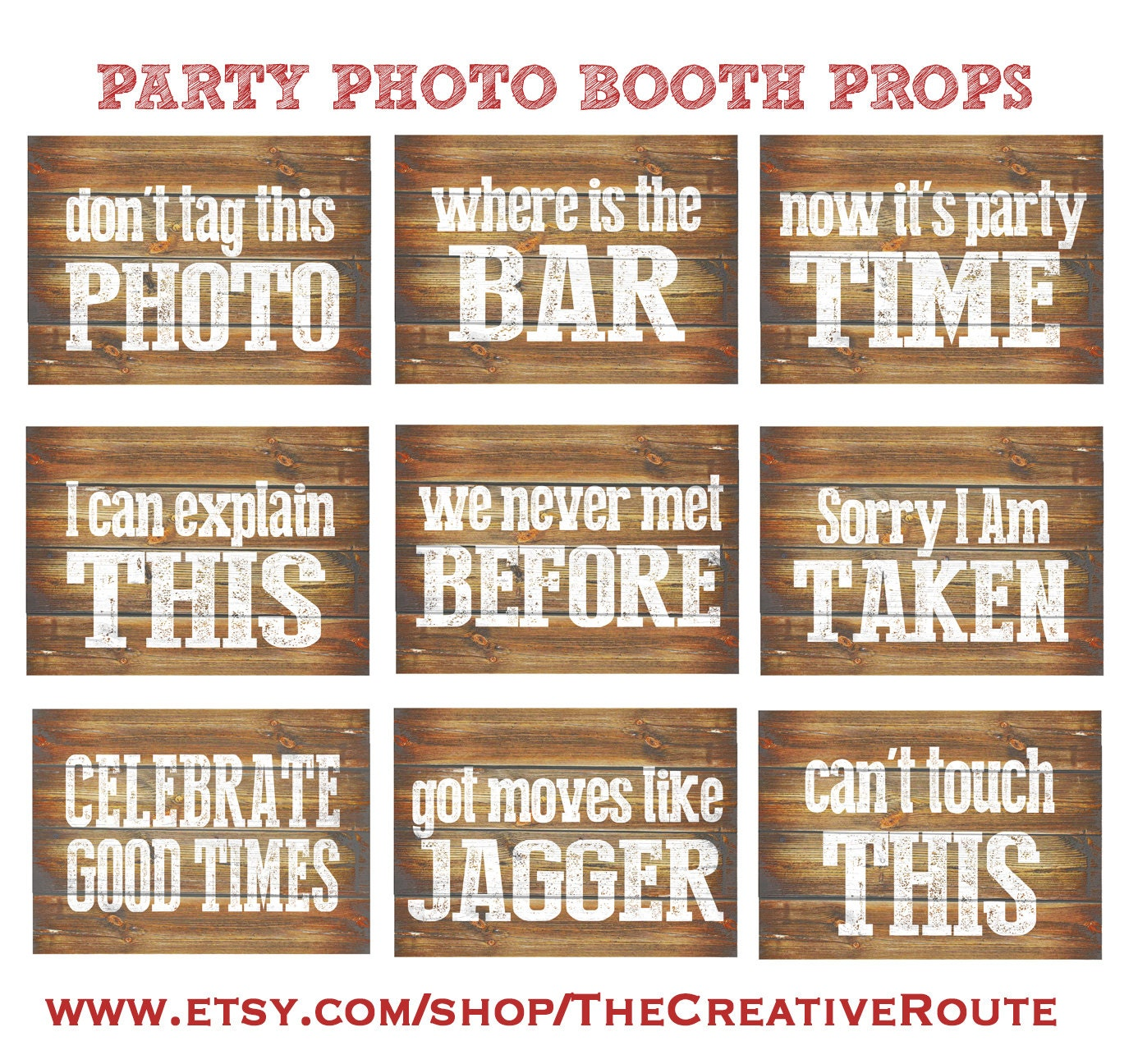 Photo Booth Quotes Party Photo Booth Props Printable 9 Large Funny Diy