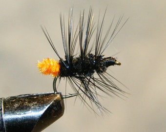 Fly Fisherman - Made in Michigan Fly - Hand-tied - Black with Orange - Fly Fishing Flies - Classic Fishing Flies - Fly Fishing Shop