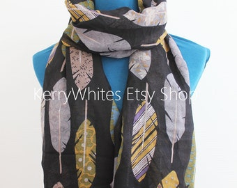 Feather Scarf - Black