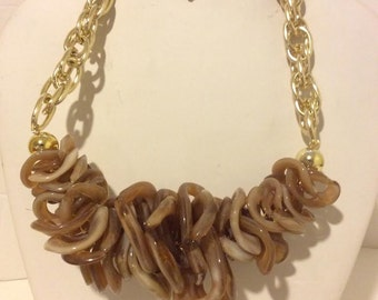 Chunky brown and gold resin statement necklace