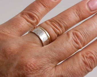 Wide Hammered Silver and Gold Ring Set
