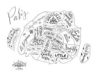 Paris Neighborhood Map - Handlettered & Printed