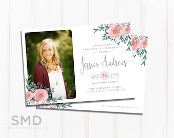 watercolor flowers graduation announcement, invitation, rustic graduation, graduation party, college open house, PRINTABLE or PRINTED CARDS
