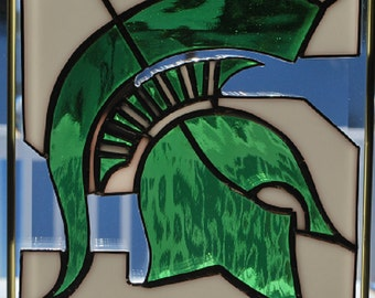 Stained glass Michigan State Spartans stained glass suncatcher/ wall hanging