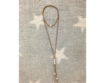 Suede and Pearl Lariat Wrap Necklace
